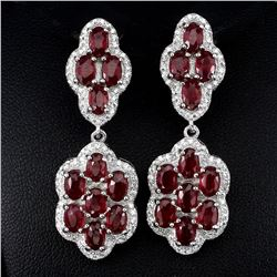 Natural Pigeon Blood Red Ruby 63 Carats Earrings