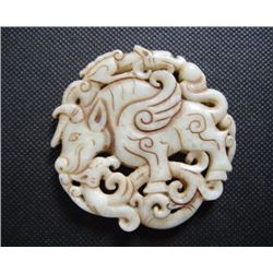 Old China White jade hand-carved dragon & Cattle