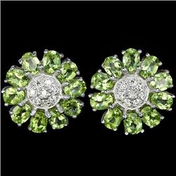 Natural Green Peridot Flower Earrings