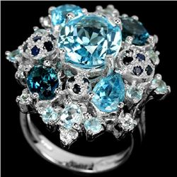 Natural SKY, SWISS & LONDON TOPAZ & BLUE SAPPHIRE Ring