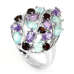 Natural Chalcedony Amethyst Mozambique Garnet Ring