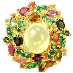 NATURAL Green PREHNITE & Fancy TOURMALINE Ring