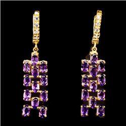 Natural Intense Purple Amethyst Earrings