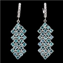 Natural Top Neon Blue Apatite 55 Carats Earrings