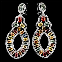 Natural Fancy Sapphire 72.91 Carats Earrings