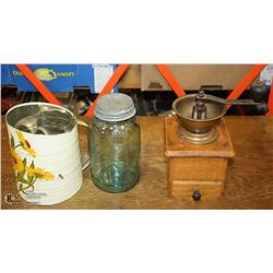 FLAT OF ANTIQUE COFFEE GRINDER,FLOUR SIFTER &