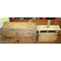 TWO ANTIQUE CHEESE BOXES & WOODEN BUTTER PRESS