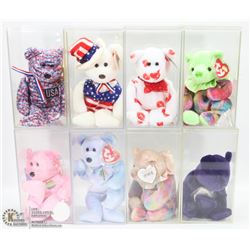 8 VINTAGE TY BEANIE BABIES IN CASES