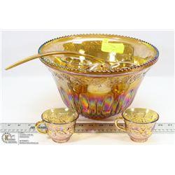 102) 15PC CARNIVAL GLASS PUNCH BOWL SET