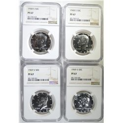 2-1968-S & 2-69-S KENNEDY HALVES, NGC PF-67