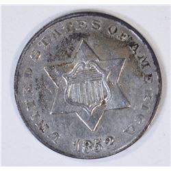 1852 3-CENT SILVER, AU