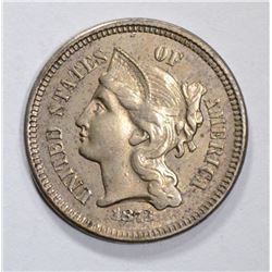 1873 OPEN 3 THREE CENT NICKEL, CH BU