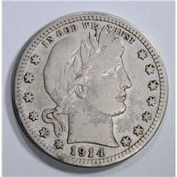 1914-S BARBER QUARTER, FINE KEY DATE