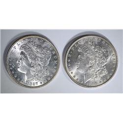 1887 & 1900-O MORGAN DOLLARS CH BU