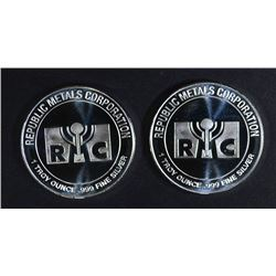 2-ONE OUNCE .999 SILVER ROUNDS RMC METALS