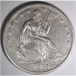 1865-S SEATED HALF DOLLAR, AU RARE CIVIL WAR DATE