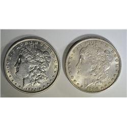 1884 & 1900 MORGAN SILVER DOLLARS, CH BU