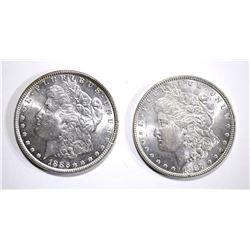 1886 & 1887 MORGAN SILVER DOLLARS, CH BU
