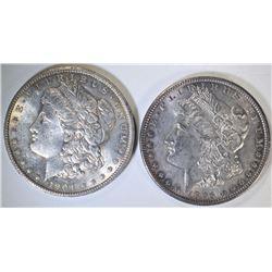 1896 & 1904-O MORGAN SILVER DOLLARS, CH BU