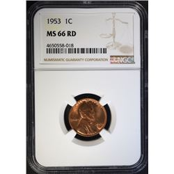 1953 LINCOLN CENT NGC MS66 RD TOUGH DATE