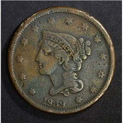 1839 BRAIDED HAIR LARGE CENT  VF