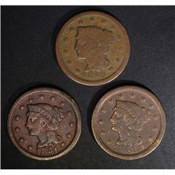 3 LARGE CENTS: 1848 G, 1851 FINE & 1852 FINE