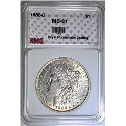 1886-O MORGAN DOLLAR RNG CH BU
