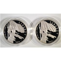 (2) 2012 Star-Spangled Proof Silver Dollars