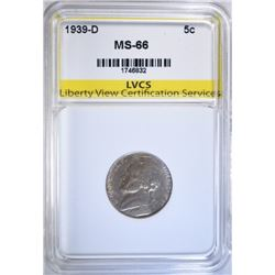 1939-D JEFFERSON NICKEL LVCS SUPERB GEM BU