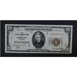 1929 $20 FEDERAL RESERVE BANK NOTE  CH.CU
