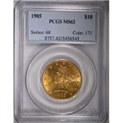 1905 $10 GOLD LIBERTY PCGS MS62