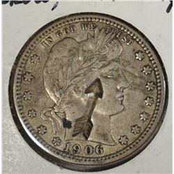 1906-D BARBER QUARTER, XF DETAILS counterstamped