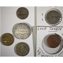 3-LOVE TOKENS & 3-COUNTERSTAMPED TYPE COINS