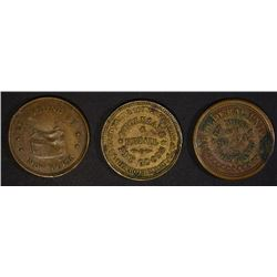 1-PATRIOTIC & 2 STORE CARD CIVIL WAR TOKENS