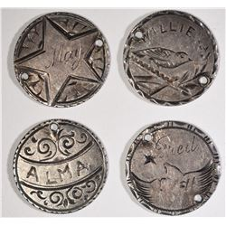 4-1892 BARBER DIME LOVE TOKENS 4-DIFFERENT