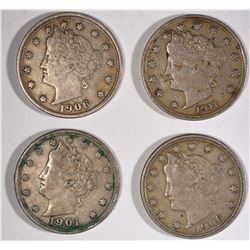 4-XF LIBERTY NICKELS: 1901 2-1906 & 1-1911