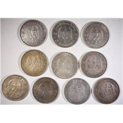 10-SILVER NAZI 5 REICHSMARKS WITH CHURCH