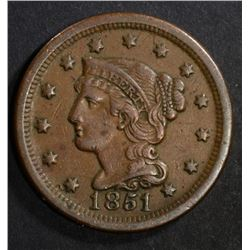 1851 LARGE CENT  XF-AU
