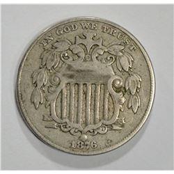 1876 SHIELD NICKEL 5 CENT PIECE  VF-XF