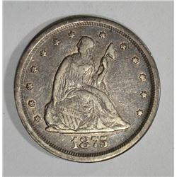 1875-S SEATED LIBERTY TWENTY CENTS  AU