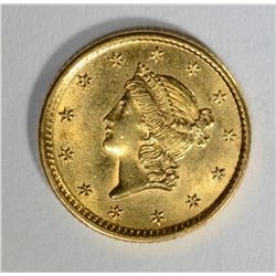 1854 GOLD $1 LIBERTY HEAD TYPE 1  GEM BU