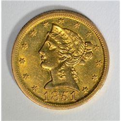 1851-D $5 GOLD LIBERTY  CH BU+