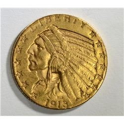 1913-S $5 GOLD INDIAN HEAD  BU