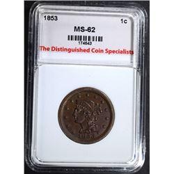 1853 LARGE CENT, TDCS NICE UNC