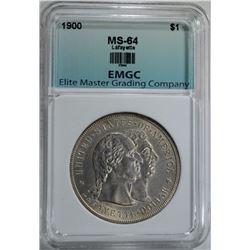 1900 LAFAYETTE COMMEM DOLLAR, EMGC CH/GEM BU