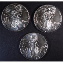 3-BU 1997 AMERICAN SILVER EAGLES
