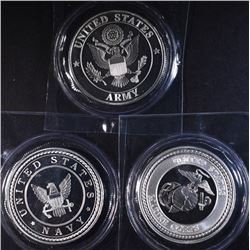 ARMY, NAVY & MARINES ONE Oz SILVER ROUNDS