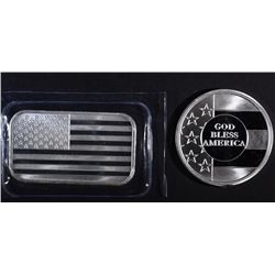GOD BLESS AMERICA & U.S. FLAG 1oz SILVER PIECES
