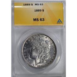 1889 MORGAN DOLLAR ANACS MS 63