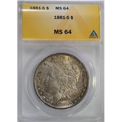 1881-S MORGAN DOLLAR ANACS MS 64